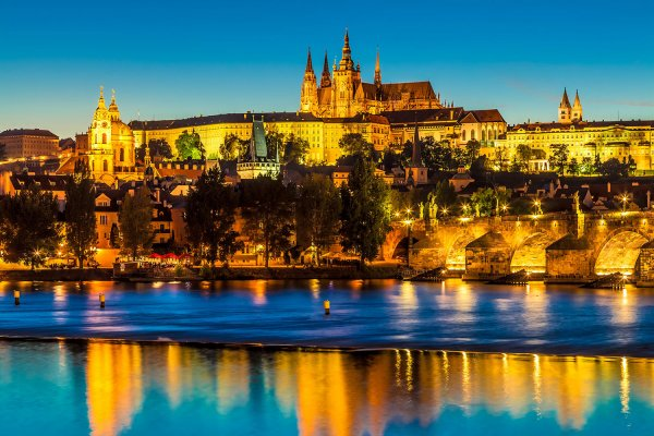 Prague Skyline with the castle at the Blue Hour, Czechia