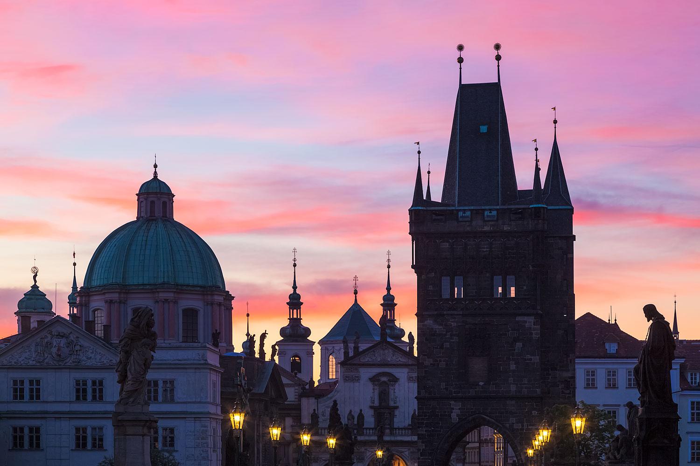 Sunrise on Charles Bridge in Prague