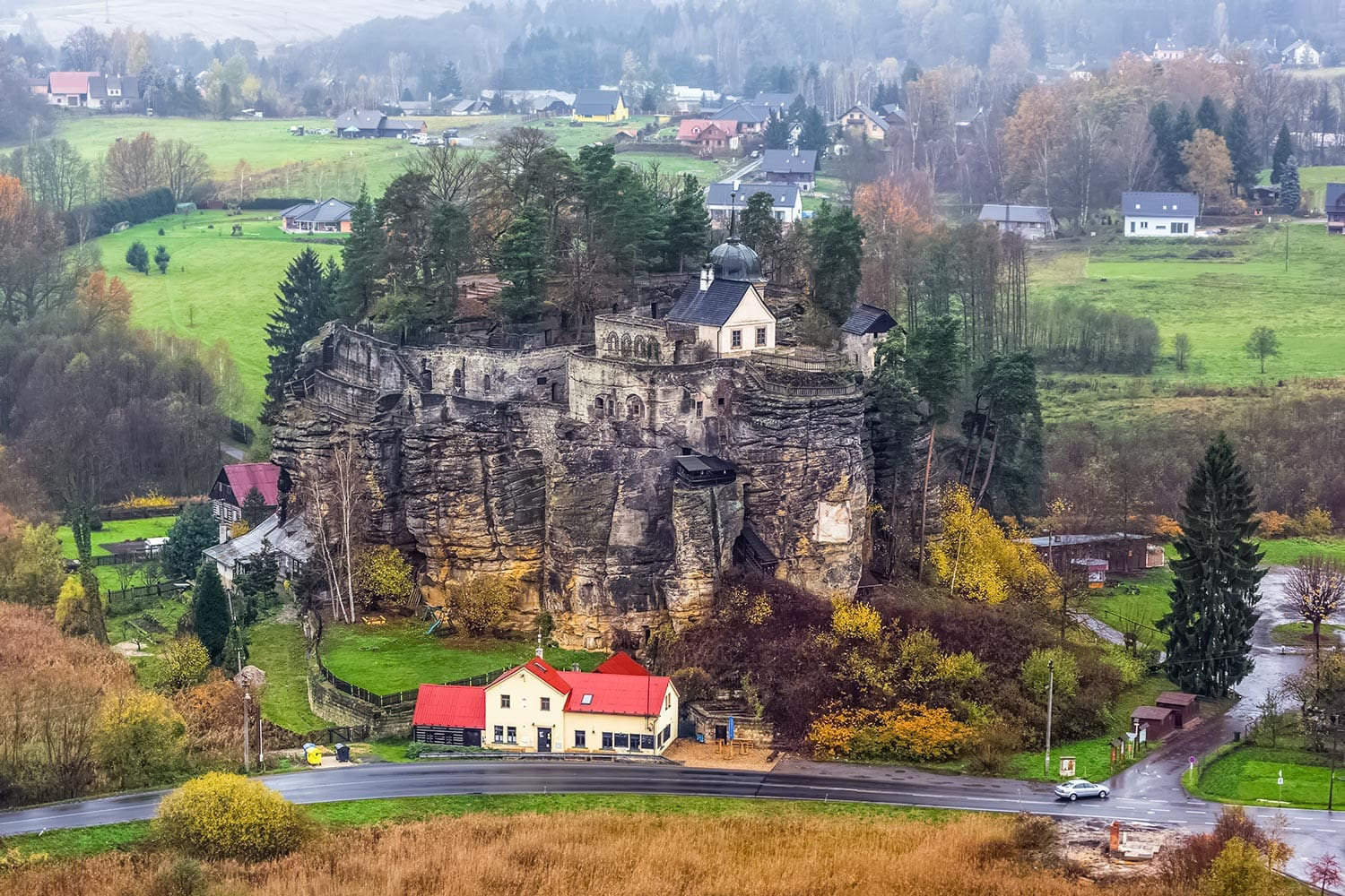Elevated View of Sloup Castle, Czechia