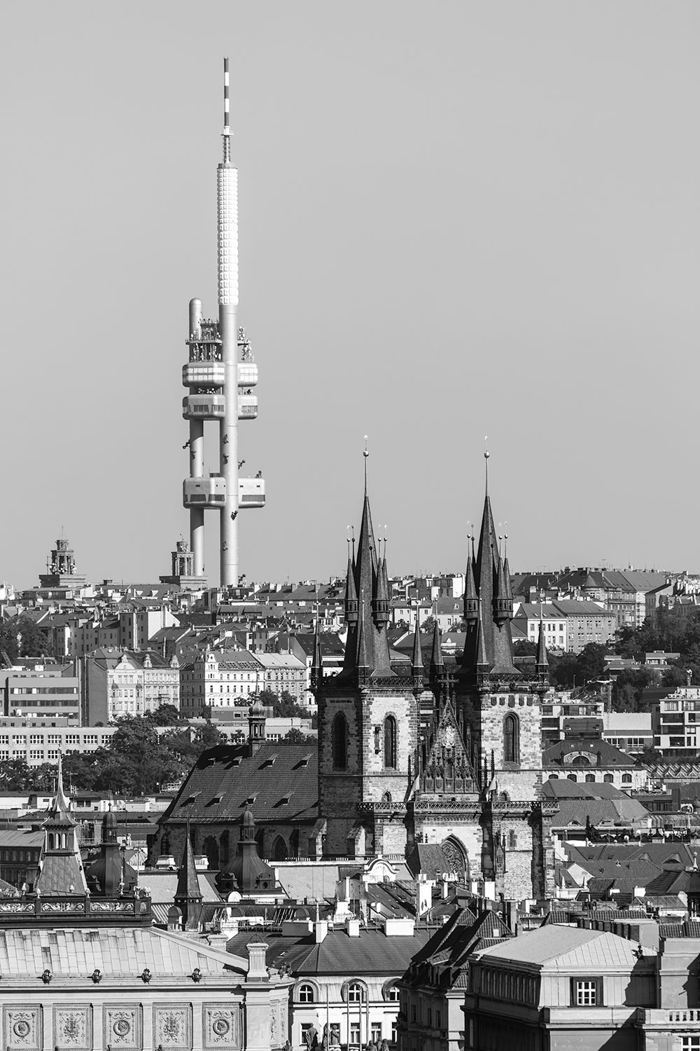Black & White Cityscape of Prague with the Žižkov TV Tower, Czechia