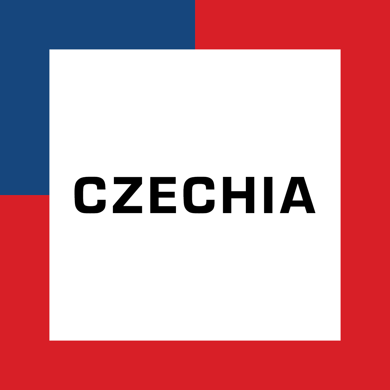 The name Czechia surrounded by the colors of the Czech flag