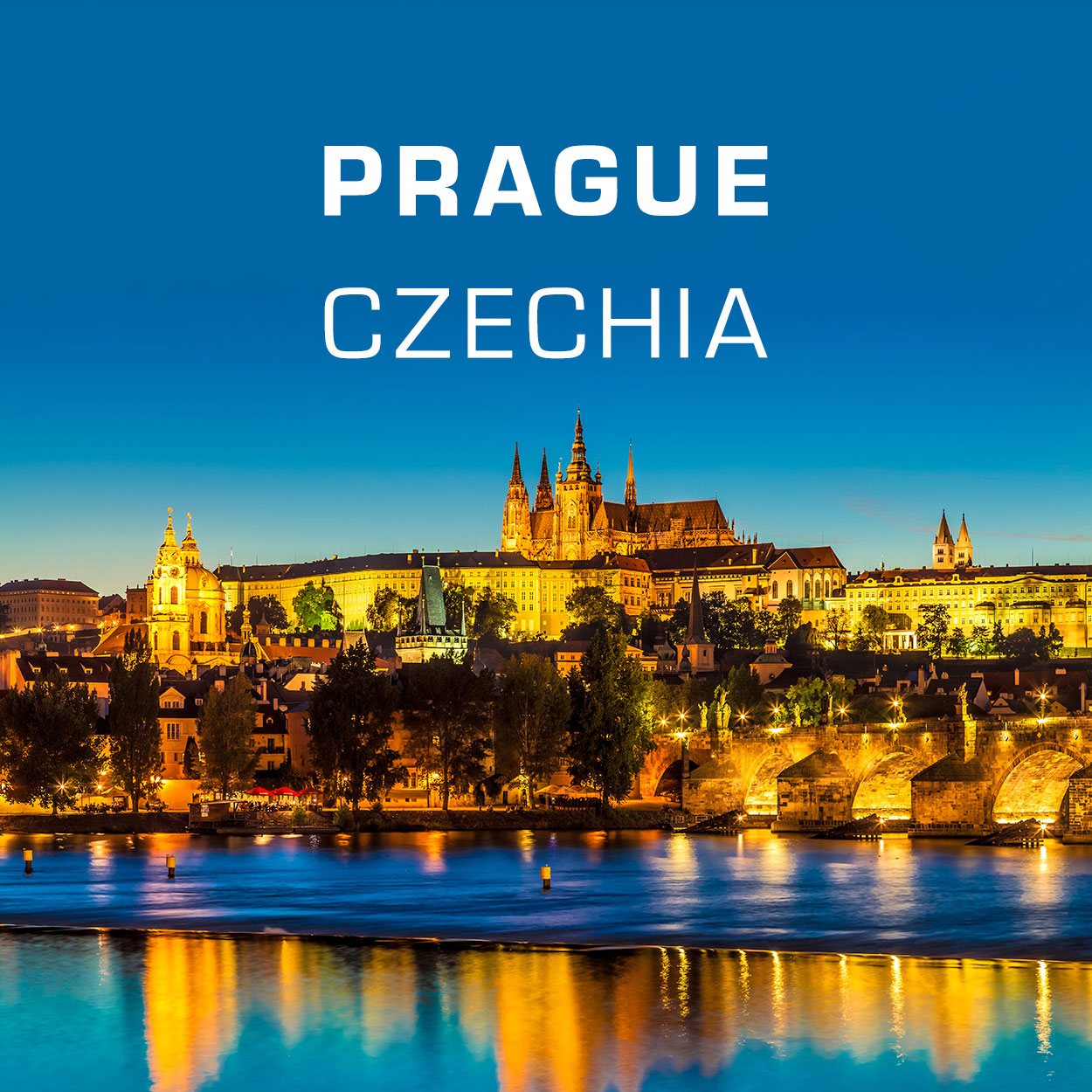 Fridge Magnets - Prague Skyline with the castle and Charles Bridge at Night, Czechia