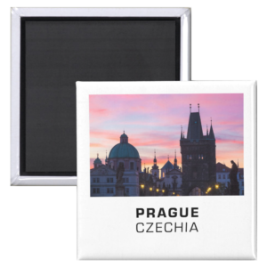 Fridge Magnets - Prague 012C - Sunrise on Charles Bridge