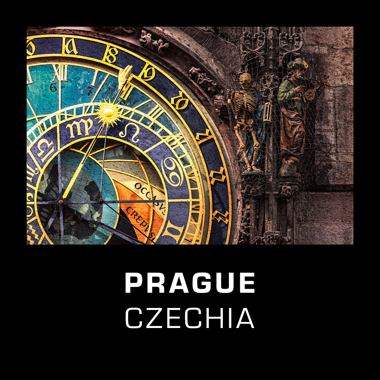 Prague, Czechia - Detail of the Prague Astronomical Clock a.k.a. Orloj