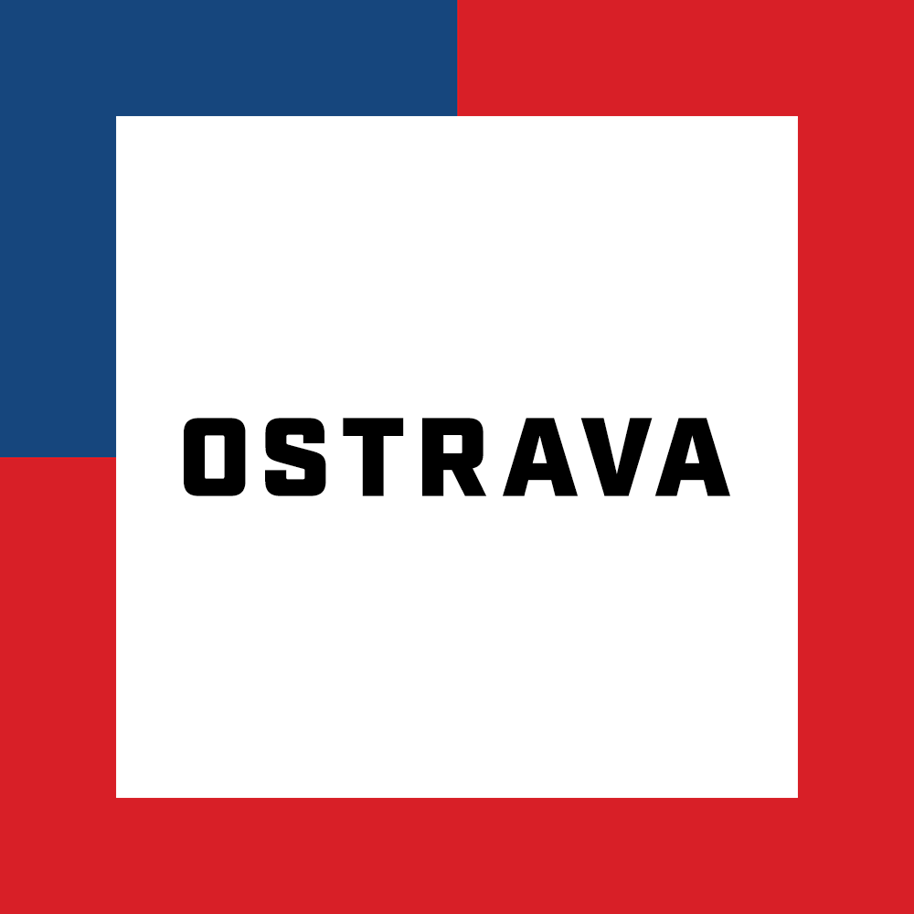 The name of the city of Ostrava surrounded by the colors of the Czech flag
