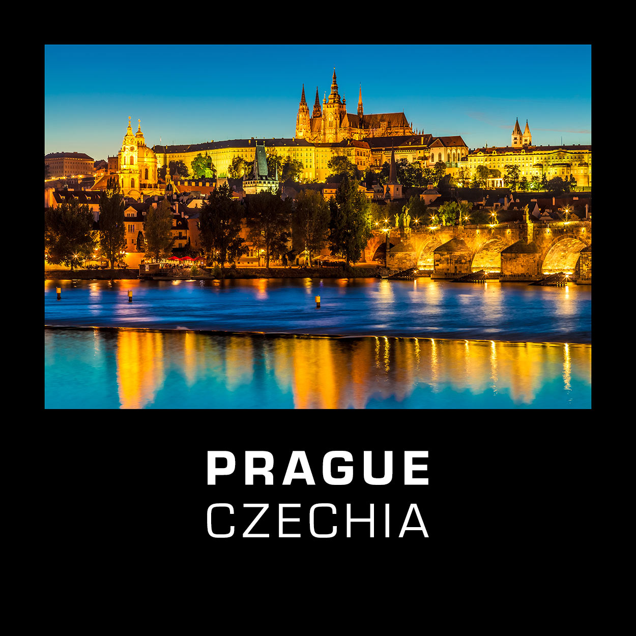 "Prague Skyline with the castle and Charles Bridge at the Blue Hour, Czechia. The Czech Capital Prague is often called ""the Golden City""."
