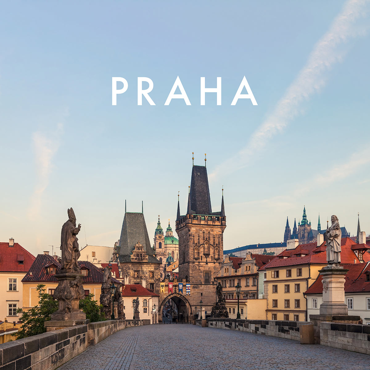 The Lesser Town Bridge Tower (Malostranská mostecká věž), Prague Castle (Pražský hrad) and the Charles Bridge (Karlův most) at Sunrise, Prague, Czechia