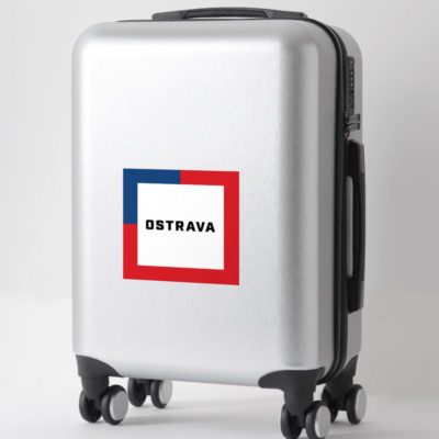 Stickers - The name of the city of Ostrava surrounded by the colors of the Czech flag