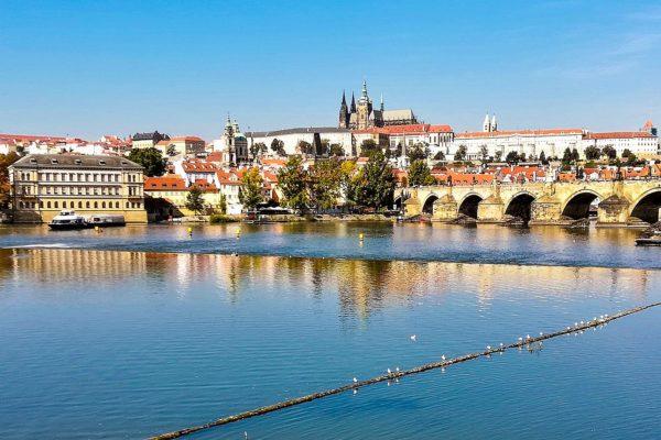The Vltava and Prague Skyline with the Castle