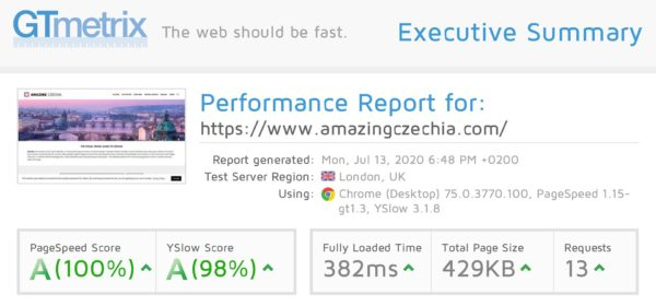 WordPress Speed Optimization - GT Metrix Score