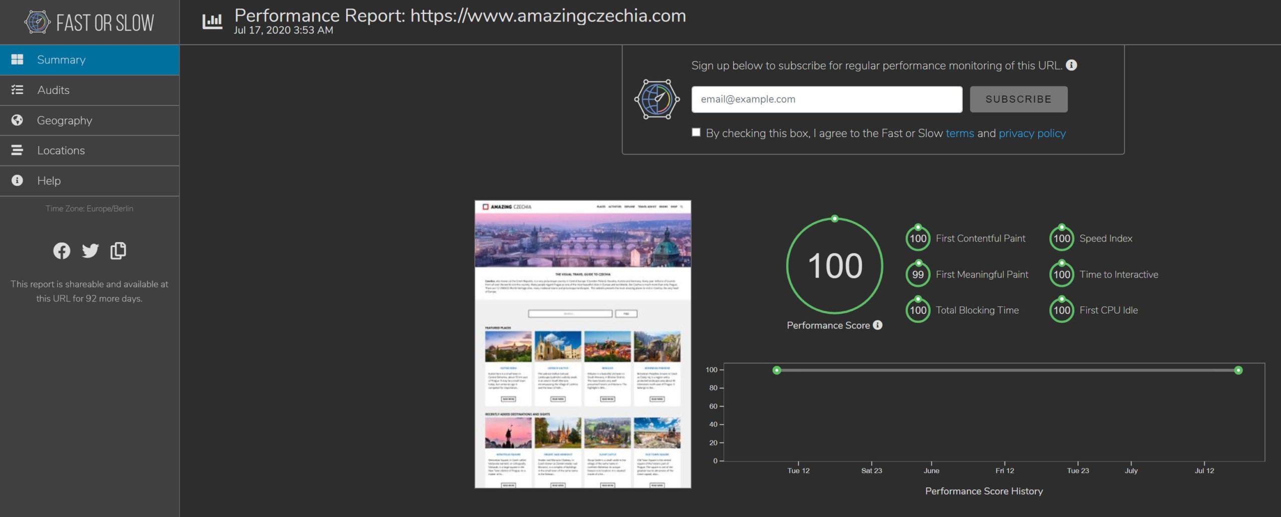 WordPress Speed Optimization Services - Score