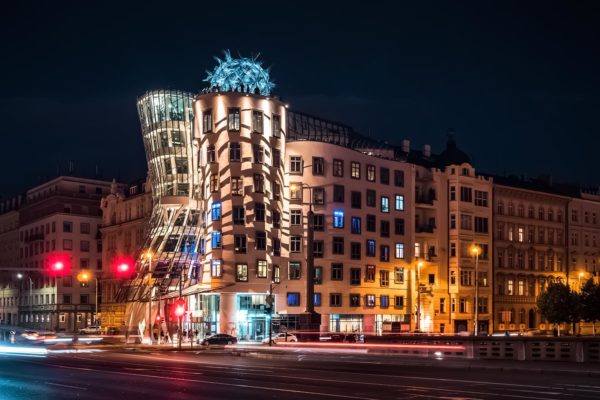 The Dancing House (a.k.a. Ginger and Fred) in Prague, Czechia at Night