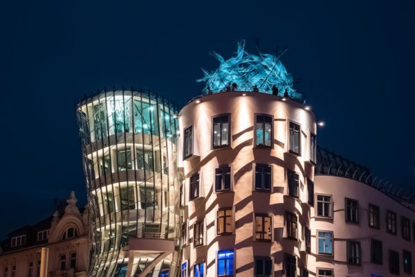 Detail of The Dancing House (a.k.a. Ginger and Fred) in Prague, Czechia at Night