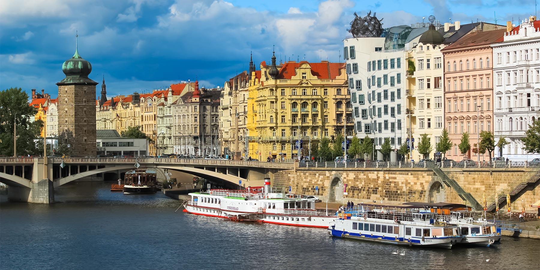 Rašínovo Embankment with the Dancing House, Prague, Czechia