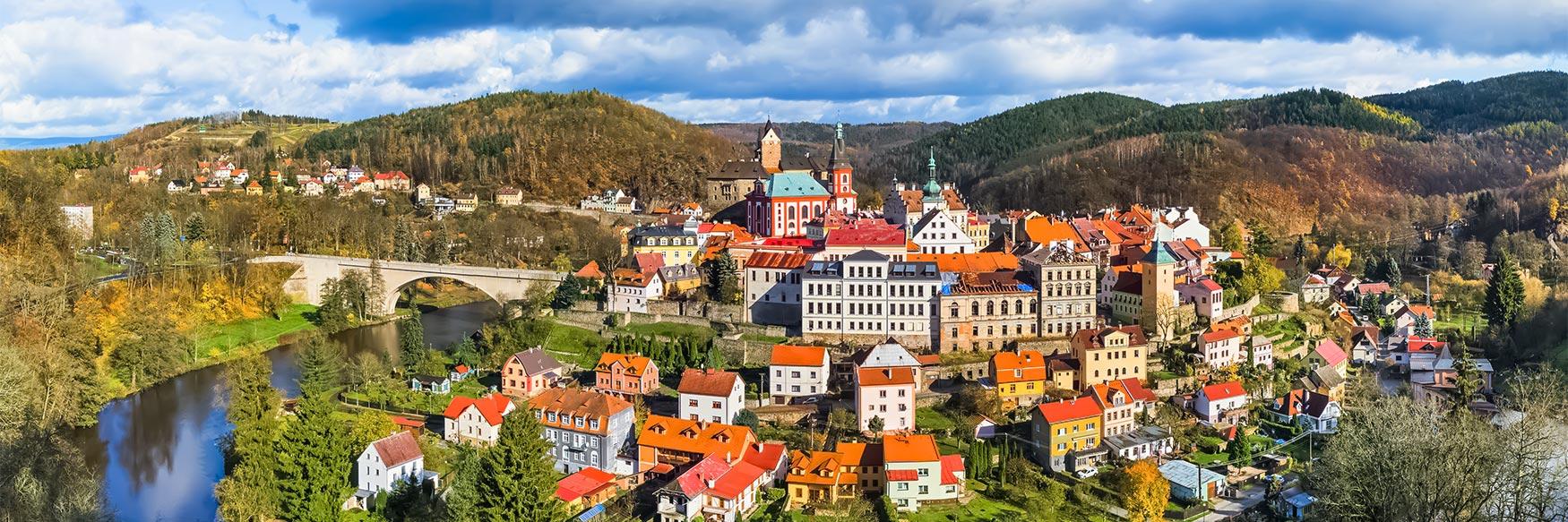 Panorama of Loket, Karlovy Vary Region, Czechia