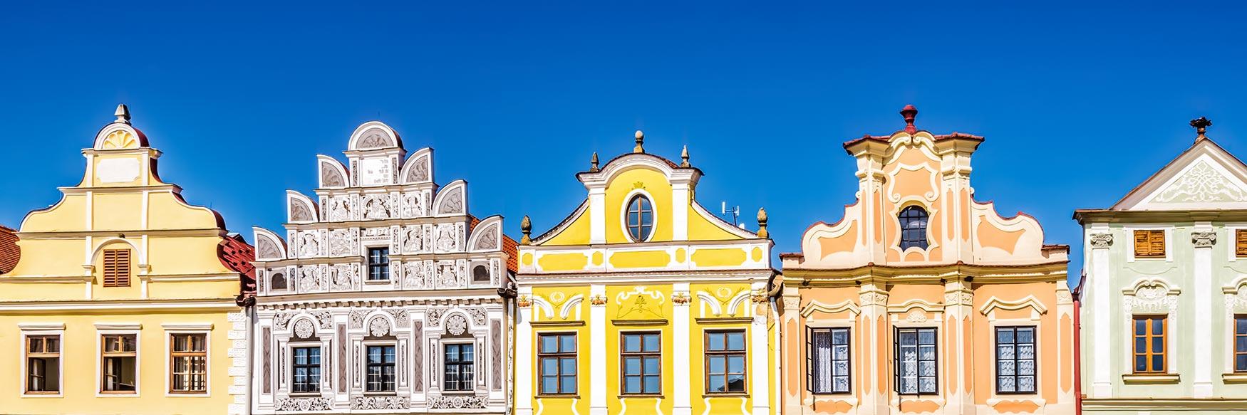 Cityscape of Telč, Vysočina, Czechia