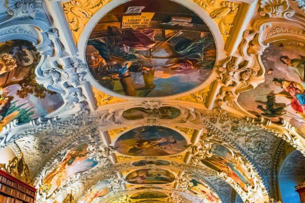 Ceiling of the Library in Strahov Monastery, Prague, Czechia